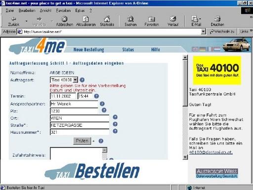 Das Taxi 40100: Die 1. Wiener Online-Taxifunkzentrale