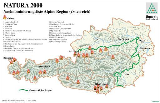 Karte Österreich mit Hot Spots Alpine Region GRAFIK 0006-0402C-Natura.fh8