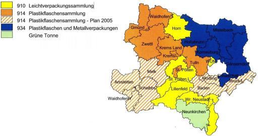 Die Abfallverbände Gmünd, Waidhofen/Thaya, Zwettl, Hollabrunn, Mistelbach, Korneuburg, Gänserndorf, Schwechat, Krems/Land, Krems/Stadt und Tulln, haben bereits umgestellt, und die LH St. Pölten befindet sich derzeit bei den Umstellungsarbeiten.