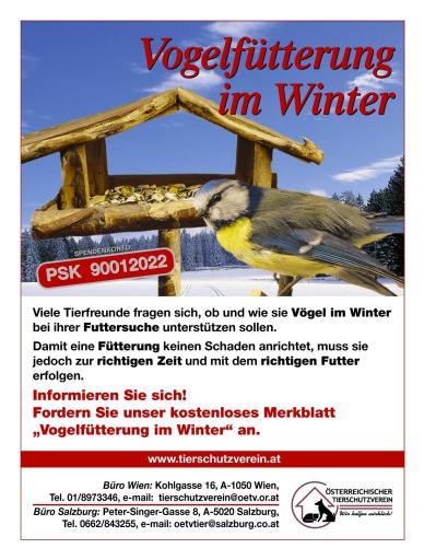 Für unsere heimischen Vögel bricht wieder eine harte Zeit heran. Der Winter steht vor der Tür und das Nahrungsangebot wird knapp. Gerade für kranke und schwache Tiere bedeutet dies einen Kampf ums Überleben.