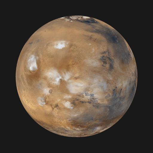 Das Programm bietet eine Vorschau auf die astronomischen Ereignisse des Jahres 2005, zu denen unter anderem eine ringförmige Sonnenfinsternis über Europa und die letzte gute Marssichtbarkeit für mehr als ein Jahrzehnt gehören. Im Bild: Mars