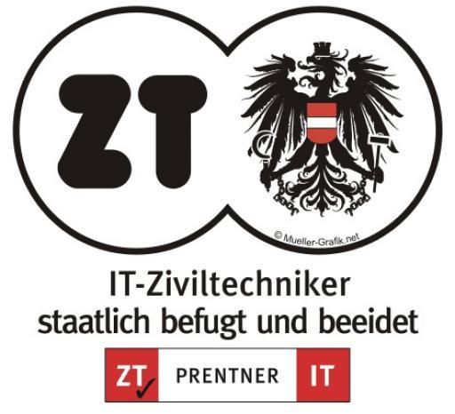 Das IT-Ziviltechnikerzeichen der ZT Prentner IT ist ein anerkanntes Vertrauenssiegel für Kunden und Partner.