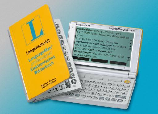 Größter zweisprachiger Englisch-Wortschatz  auf dem deutschsprachigen Handheld-Markt. Zum 150. Jubiläum des Langenscheidt Verlags erscheint der LanguageMan(R) professional Englisch.