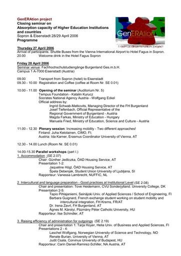 ERASMUS-Seminar am 28. und 29. April in Eisenstadt und Sopron
