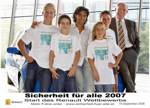 """Das sechste Jahr in Folge startet RENAULT in Österreich die international erfolgreiche Initiative """"Sicherheit für alle"""" und lädt SchülerInnen der 7. und 8. Schulstufen zu einem Plakatwettbewerb zum Thema """"Verkehrssicherheit""""."""