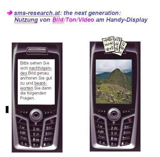 Mit der Nutzung des MULTIMEDIA MESSAGING SERVICES - MMS (das den Versand von Texten, Sounds, Fotos und Videoclips ermöglicht) eröffnet sms-reserach.at eine völlig neue Dimension der Pre- und Post-Test-Forschung