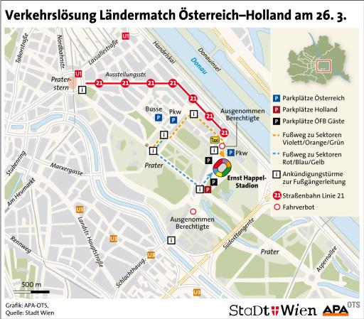 Verkehrsloesung Laendermatch Oesterreich-Holland am 26.3.