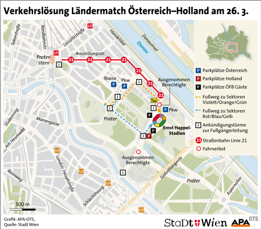 Verkehrsloesung Laendermatch Oesterreich-Holland am 26.3.