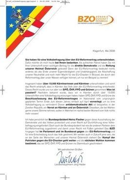 EU-Vertrag: LH Jörg Haider wendet sich per Brief an über 15.000 ...