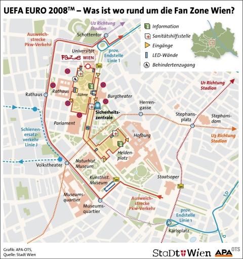 Was ist wo rund um die Fan Zone Wien?