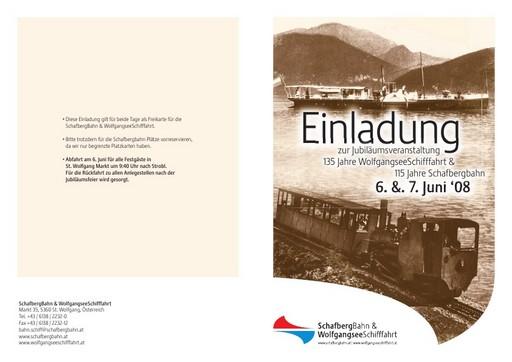 EINLADUNG zur Jubiläumsfeier: 135 Jahre WolfgangseeSchifffahrt und 115 Jahre Schafbergbahn