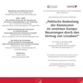 Symposium Politische Bedeutung Der Kommunen Im Vereinten Europa
