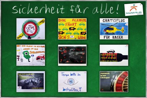 v.l.n.r.: Bundeslandsieger Sicherheit für alle 2008/09 - Burgenland, Kärnten, Niederösterreich, Oberösterreich, Salzburg, Steiermark, Tirol, Vorarlberg, Wien.