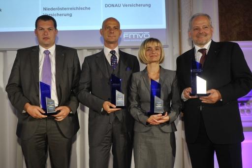 Im Bild v.l.n.r.: Mag. Thomas Wild (Niederösterreichische Versicherung), VD Peter Stockhammer (Zürich Versicherungs-AG), Mag. Brigitte Haider (Oberbank AG), GD KR Mag. Gerald Wenzel (österreichische Volksbanken)