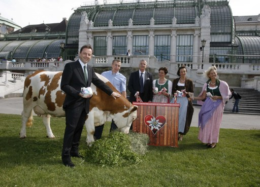Pressekonferenz anlässlich des Weltmilchtages. v.l.n.r.: v.li.n.re. HBM Niki Berlakovich (Landwirtschaftsminister), Kuh Stolze, Thomas Zuber (Landwirtschaftliche Fachschule Pyhra), Dr. Stephan Mikinovic (GF der AMA Marketing), Salburger Bäuerinnen Theresia Neuhofer, Getrude Farmer und Elisabeth Hölzl) http://pressefotos.at/m.php?g=1&u=52&dir=200905&e=20090529_a&a=event