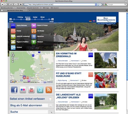 Neu umgesetztes Weblog auf http://blog.badkleinkirchheim.at transportiert Geschichten aus und über Bad Kleinkirchheim und dient als zentrale Drehscheibe der Region in die Welt des Mitmach-Webs.