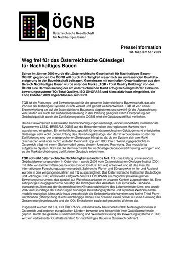 Weg frei für das Österreichische Gütesiegel für Nachhaltiges Bauen