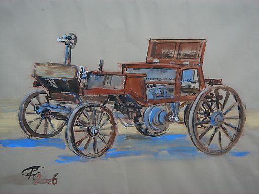 Marcus Wagen aus 1875, das erste Automobil der Welt, Aquarell von Carmen Krisai-Chizzola