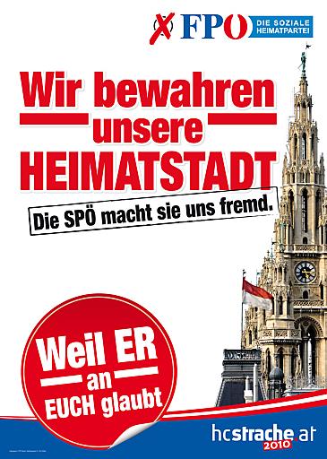 A0-Plakat der FPÖ für die Wiener Landtagswahl 2010