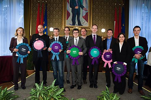 Die prämierten ProjektleiterInnen der zehn vom WWTF mit dem IKT Call 2010 geförderten wissenschaftlichen Forschungsprojekte.