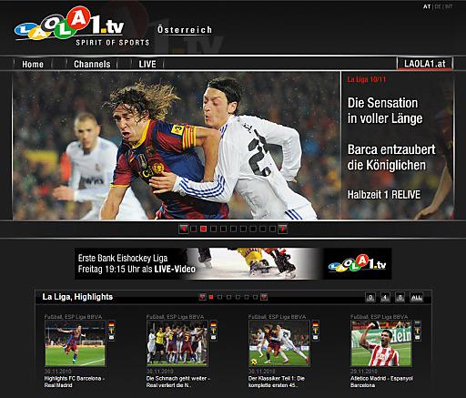 Screenshot: El Clásico bei LAOLA1.tv