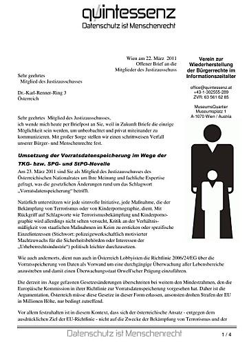 Vorratsdatenspeicherung: Offener Brief an den Justizausschuss