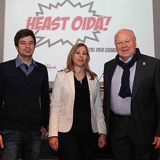 Kein Konflikt der Generationen: SJ-Vorsitzender Wolfgang Moitzi, Junge Generation-Vorsitzende Tina Tauß und Pensionistenverbands-Präsident Karl Blecha