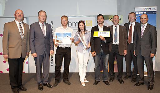 """1. Preis Jugend Innovativ 2010/11, Kategorie """"Sonderpreis Klimaschutz"""", Projekt: Wintergarten - Energienutzung und Sonnenschutz durch Flüssigkeiten. ."""