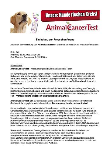 Einladung zur PK: Unsere Hunde riechen Krebs! - AnimalCancerTest - Krebsvorsorge und Krebsnachsorge bei Tieren