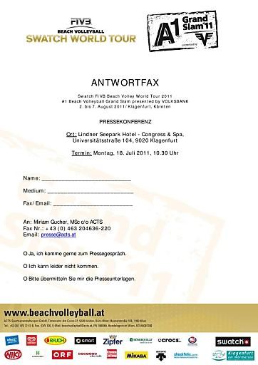 Einladung zur Pressekonferenz für den A1 Beach Volleyball Grand Slam 2011 presented by VOLKSBANK am 18. Juli 2011