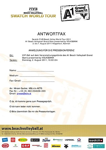 Einladung zur Auftakt-Pressekonferenz des A1 Beach Volleyball Grand Slams presented by VOLKSBANK am 2. August 2011