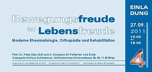 Bewegungsfreude ist Lebensfreude - 6. Kongress für Ärzte und Patienten am 27.September in 1120 Wien