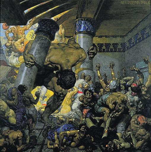 ROTHAUG, Alexander 1870 - 1946; Simsons Rache 146 x 146 cm Öl auf Leinwand, signiert