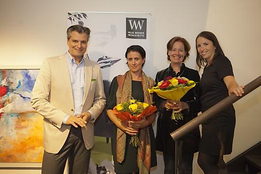 Künstlerinnen Eva und Renate Summer und Karin Polzhofer mit Dorian Steidl, der durch den gelungenen Abend führte
