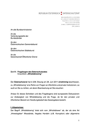 """Datenschutzrat: Fragebogen-Erhebung zu """"Whistleblowing"""""""
