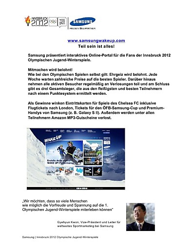 Samsung startet mit interaktiver Online-Plattform Auftakt zu den 1. Olympischen Jugend-Winterspielen in Österreich
