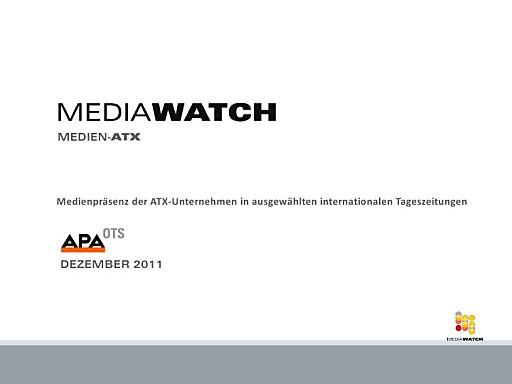 MediaWatch / APA-OTS Medien-ATX Dezember 2011: Telekom Austria Präsenzleader
