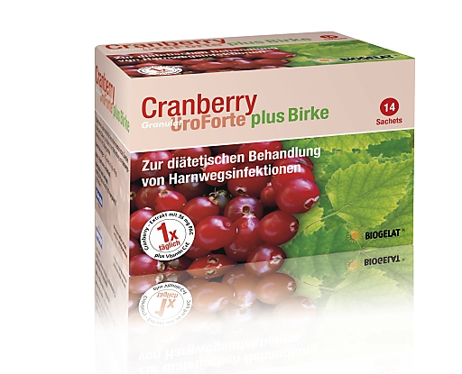 BIOGELAT(R)Cranberry UroForte plus Birke Packshot