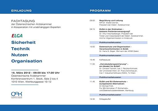 """Einladung Tagung Ärztekammer: """"ELGA: Sicherheit - Technik - Nutzen - Organisation"""", 15.03.2012, 09.00 Uhr"""