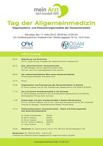 """EINLADUNG Tag der Allgemeinmedizin: """"Hausarztmedizin im Ländervergleich"""", 17.03.2012, 09.00 Uhr"""