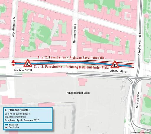 Wiedner Gürtel: Verkehrsmaßnahmen während Osterferien