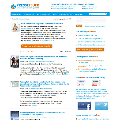 Screenshot Pressefeuer
