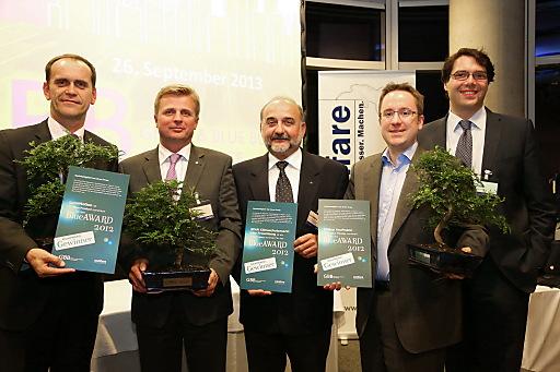 Die Preisträger des BlueAwards 2012: LumiMotion von Philips (Blue Product), SPAR Klimaschutzmarkt Linz Froschberg (Blue Project) und Philipp Kaufmann (Blue Thinker)