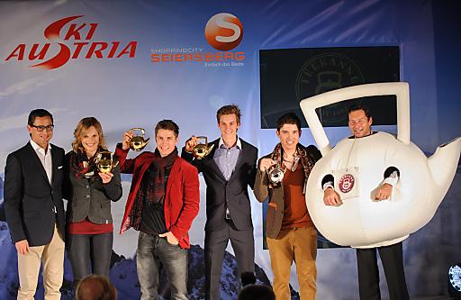 """http://www.apa-fotoservice.at/galerie/3505/ Gewinner der """"Goldenen Teekanne"""": Marlies Schild, Marcel Hirscher, Gregor Schlierenzauer und Marcel Mathis"""