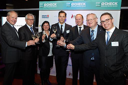 Personen v.l.n.r: Klaus Glasner (Raiffeisen Capital Management), Alois Steinböck (BAWAG P.S.K. INVEST), Elke Speidel-Walz (Deutsche Bank), Dominik Hojas (DerBörsianer.com), Heinz Bednar (Erste Asset Management), Martin Simhandl (VIG), Alfred Reisenberger (Wiener Privatbank).