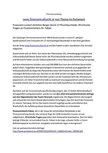 www.finanzamt-pfuscht.at nun Thema im Parlament