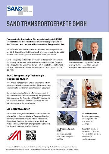 SANO Transportgeraete GmbH ausgezeichnet mit Wirtschaftspreis PEGASUS in Gold 2013: 1. Platz Kategorie Kleinbetriebe www.sano.at