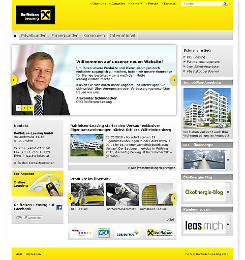 Homepage Raiffeisen-Leasing
