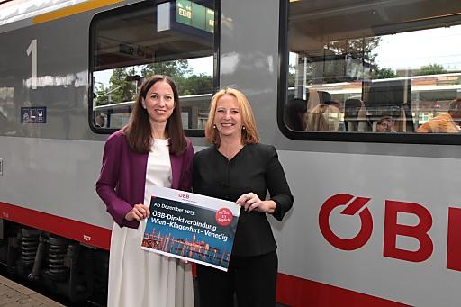 v.l.n.r.: Birgit Wagner, Vorstandsdirektorin ÖBB-Personenverkehr AG; Doris Bures, Bundesministerium für Verkehr, Innovation und Technologie