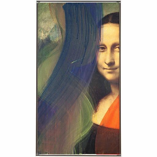 Arnulf Rainer, Mona Lisa I, 2002, Leimfarbe auf Papier auf Holz, 92 x 49 cm